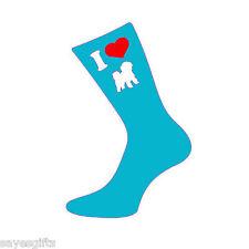 I love Bichons Femme / Mesdames turquoise chaussettes chaussettes dames BICHON FRISE