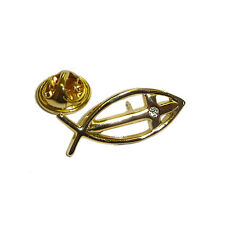 Gold Plated Icthus Pin with Crystal Christ Blessed Holy Trinity Easter LP007 NEW