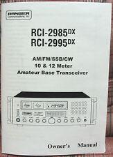 Ranger RCI-2985DX - RCI-2995DX 10 Meter Radio Owners Manual