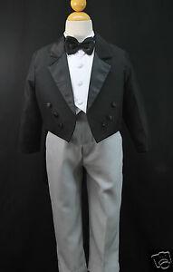 Baby & Boys Formal Wedding Party Tail Tuxedo Suit BLACK S M L XL 2T 3T 4T 5 6 7