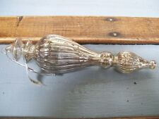 NWT SILVER Mottled Mercury Lined Glass Finial Drop CHRISTMAS Ornament  #D