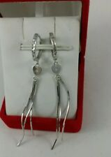 18k Solid White Gold Long Drop / Dangle Earrings 2.2 Grams- Diamond Cut Women