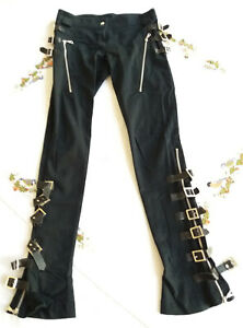 Gothic Hose Buckles schwarz silber stretch italienisch