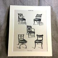 Antico Stampa Mobili Disegno Classica Art Sheraton Sedie