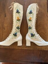 Vintage 60s 70s Gogo Boots Embroidered Penny Lane Leather Lace Up Coachella