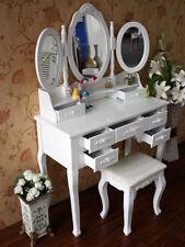 Schminktisch XXL + 3 Spiegel Frisierkommode Frisiertisch Kosmetiktisch Hocker 1