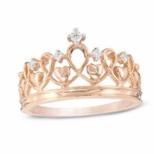 Real Diamond Accent Heart Crown Ring in 925 Silver with 14K Rose Gold Over