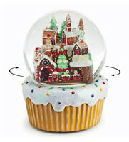 SNOW GLOBES - GINGERBREAD VILLAGE WITH ROTATING TRAIN MUSICAL SNOW GLOBE