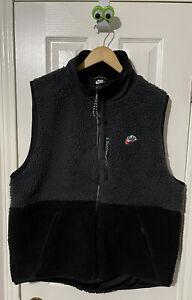 🔥NEW Nike Sportswear Sherpa Fleece Full Zip Vest Grey Black NWT Men's Size XL
