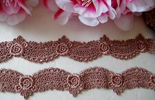Very Prety Brown color flower embroidery lace trim/ribbon - price for 1 yard