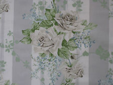 """SANDERSON CURTAIN FABRIC """"Cecile Rose"""" 3.6 METRES IVORY/SILVER VINTAGE 2 COLL"""
