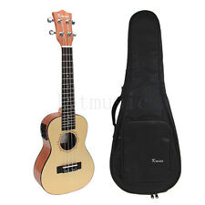 Laminated  Spruce 23 Inch Electric Acoustic Concert Ukulele Hawaii Guitar w/Bag