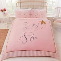 WISH UPON A STAR DUVET COVER SET PINK GOLD STARS GIRLS - SINGLE & DOUBLE
