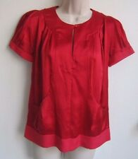 MARC BY MARC JACOBS 100% Silk Puffy Short Sleeve Red Blouse Top  ~ Size XS