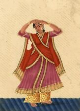 Company School 19th siècle Indian Mica peinture gouache Dancing Girl in Sari I