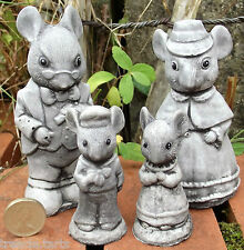 Small Mouse Family - 4 piece - Hand Cast Stone Garden Ornaments - Max 12 cm tall