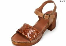 "WHITE MOUNTAIN Pandora Tan Woven Leather 2.5"" Heel Platform Sandal 7 M NIB"