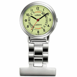 LORUS NURSES DOCTOR FOB WATCH UNISEX SILVER STAINLESS W/ YELLOW DIAL - RG253CX9