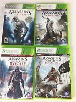 Assassin's Creed Lot Bundle 1 3 IV Black Flag Rogue Microsoft Xbox 360