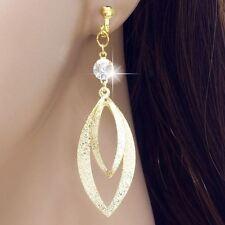 """#E121V Pair 2.5"""" LONG NON-PIERCED CLIP ON EARRINGS Double Twist Teardrop Crystal"""