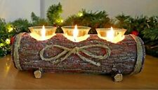 Rustic Log Tealight Holder Candle Wooden Effect Centrepiece Christmas Home Decor