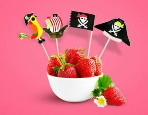 20 x Pirate Cupcake Toppers Cake Decorations Birthday Childrens Novelty Picks M1