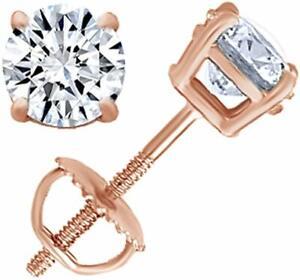 Diamond Stud IGI Certified 0.04 ct Quality Screw Back Earrings in 14k Rose Gold