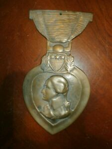 Vintage Antique Solid Brass US Military Purple Heart Plaque Sign Marker Topper
