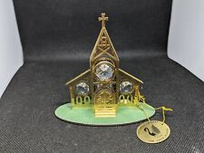Vtg Authentic Austrian Crystal 24K Gold Plated Church Figurine (New W/Tags)