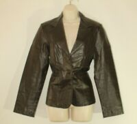 Women's Brown Leather VERO MODA Button Fitted Hip Length Biker Jacket Size L