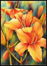 Day Lilies - DIY Chart Counted Cross Stitch Patterns Needlework 14 ct Aida