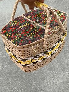 Vintage Floral Meadow Material Top BIG Sewing Picnic Basket Pin Cushion ❤️sj3j