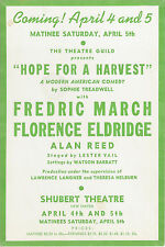 """Fredric March """"HOPE FOR A HARVEST"""" Florence Eldridge 1941 FLOP Tryout Flyer"""