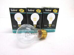 LOT of (3) HALCO 60 WATT, APPLIANCE, FAN, UTILITY BULBS, CLEAR A15CL60/E26, A-15
