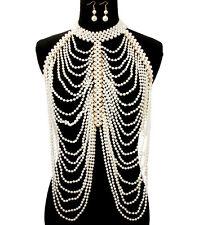 gold cream pearl choker necklace earrings collar body chain armor