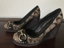 Beautiful Coach CC Brown Suede Canvas Wedge Shoes Size 6.5M Issy#Q219