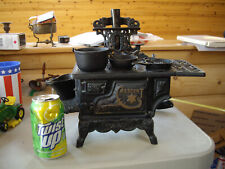 VINTAGE Cresent Cast Iron Salesman Sample Miniature Toy Stove With Accessories