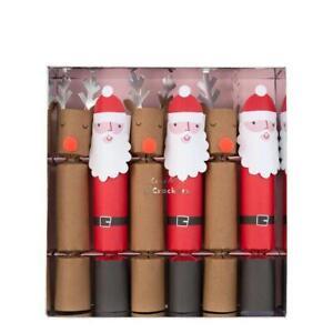 MERI MERI CHRISTMAS Santa & Reindeer Medium Christmas Crackers (6 Pack) 2019