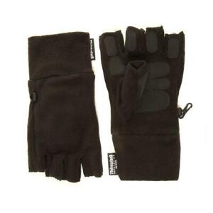 Mens Thinsulate Gloves Fingerless Gripper Fleece Black Mitts One Size