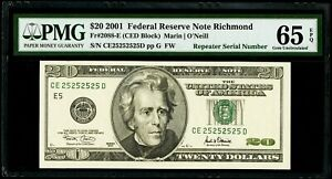 "$20 2001 Federal Reserve Note Richmond ""Super Repeater Serial #"" PMG 65 EPQ Gem"