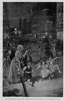 CHILDREN PLAYING ON THE ASPHALT STREETS OF NEW YORK SUMMER NIGHT ORGAN GRINDER