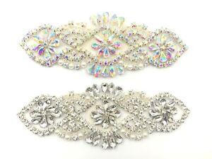 A Grade Diamante Rhinestone Motif Sew Iron On Silver Applique Bridal Dress Patch