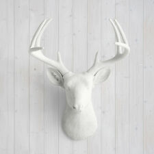 Wall Charmers Deer in White Faux Head Fake Animal Ceramic Resin Taxidermy Antler