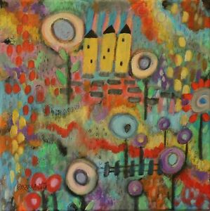 Houses And Blooms 12 x 12 ORIG CANVAS PAINTING Folk ART ABSTRACT Karla Gerard
