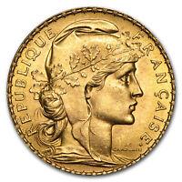 Random Year 0.1867 oz French 20 Franc Rooster Gold Coin AU