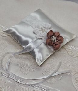 wedding white pillow for rings decorated handmade pink and white flowers