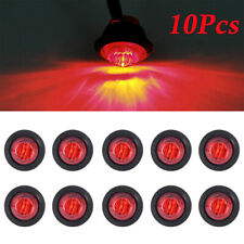 10x 12 V RED SMALL ROUND LED BUTTON REAR MARKER LAMP/LIGHT UNIVERSAL TRUCK CAR