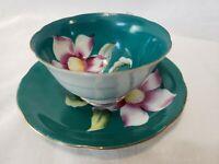 Porcelin China Tea Cup & Saucer Green Flower 22k Gold Trim