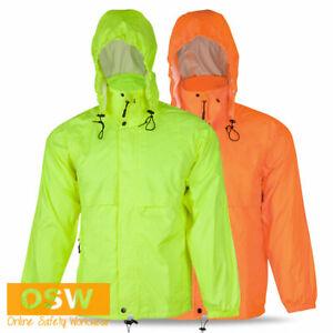 Hi Vis Yellow Orange Unisex Outdoor Mens Womens Adults Rain SPRAY Jacket + Bag