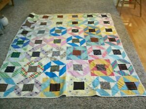 Hand Pieced, Sewn, & Quilted Crazy Pattern 67 x 84 Quilt